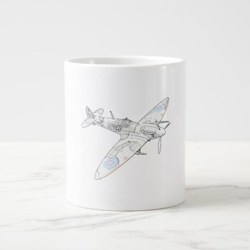 1936 WWII Spitfire Fighter Aircraft-color Jumbo Mug