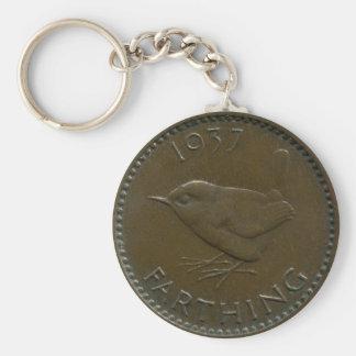 1937 British farthing keychain