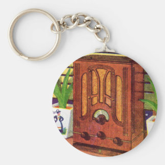 1937 cathedral radio basic round button key ring