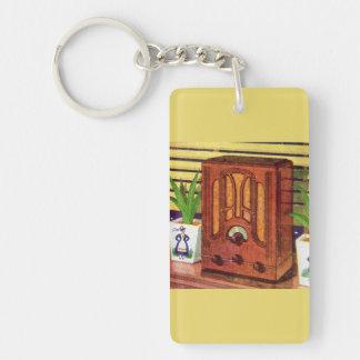 1937 cathedral radio Double-Sided rectangular acrylic key ring