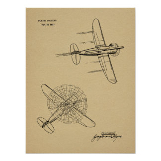 1937 Helicopter Airplane Patent Art Drawing Print