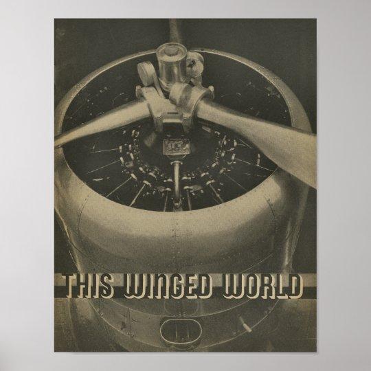 1938 Aviation Aeroplane Engine Magazine Art Print