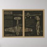 1938 Aviation Hurricane Aeroplane Design Art Print