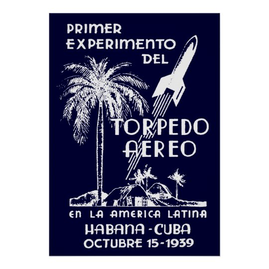 1939 Cuban Rocket Mail Poster