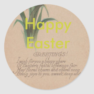 1939 Easter Poem Classic Round Sticker