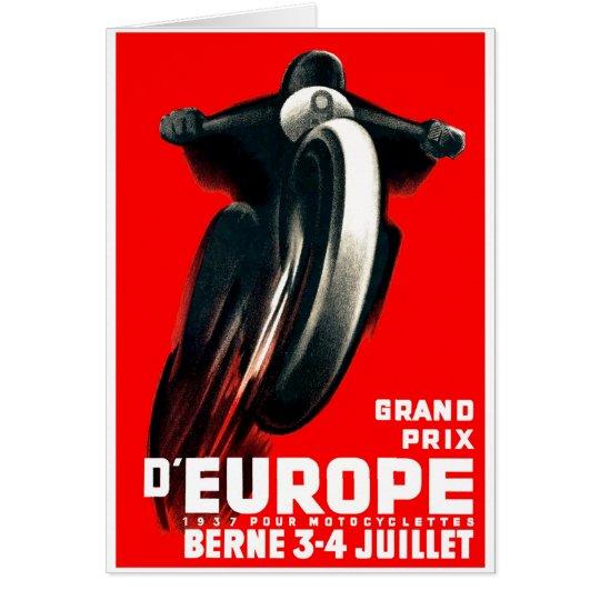 1939 European Grand Prix Motorcycle Racing Poster Card