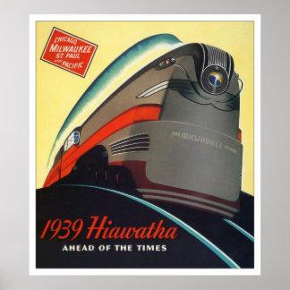 1939 Hiawatha Locomotive Poster