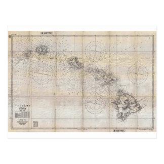 1939 Japanese Map of Hawaii Pearl Harbor Postcard