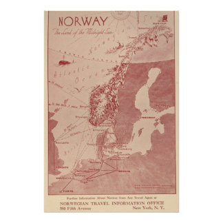1939 Norway Norwegian Travel Information Office NY Poster