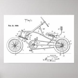 1939 Vintage Recumbent Bicycle Patent Art Print