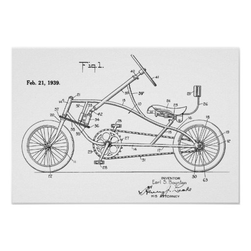 1939 Vintage Recumbent Bicycle Patent Art Print