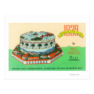 1939 Worlds Fair Cake by Bill Baker in Ojai Postcard