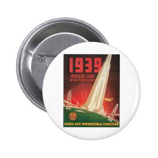 1939 World's Fair San Francisco Bay 6 Cm Round Badge