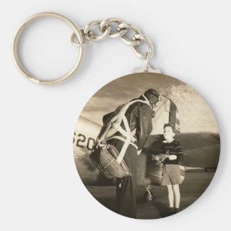 1940 American military pilot and young boy Basic Round Button Key Ring