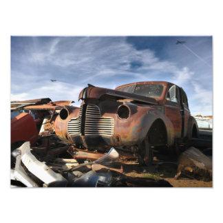 1940 Buick & F-86 Sabre overflight - junkyard art Photographic Print