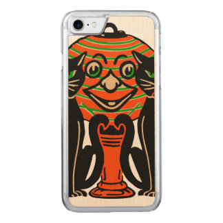 1940 Vintage Halloween Black Cats Carved iPhone 7 Case