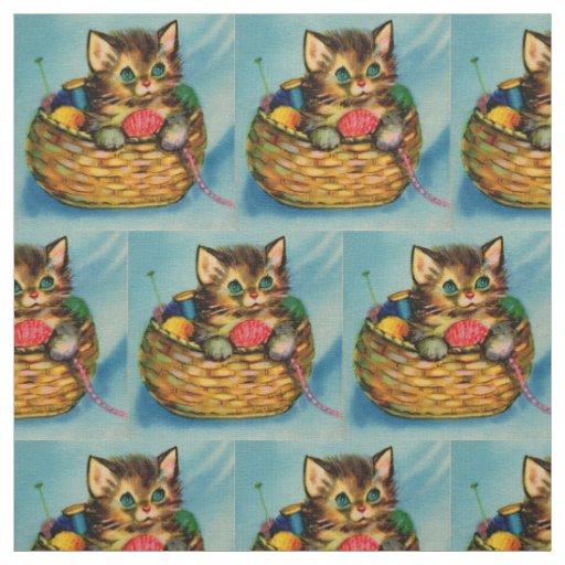 1940s adorable kitten in knitting basket print fabric
