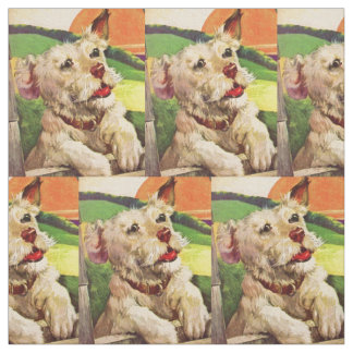 1940s adorable terrier dog print fabric