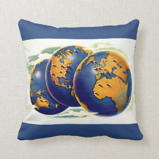1940s as the world turns three views of earth cushion