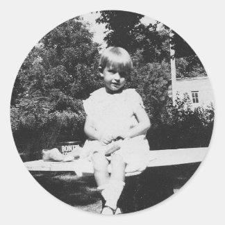 1940's Child Sitting Round Sticker