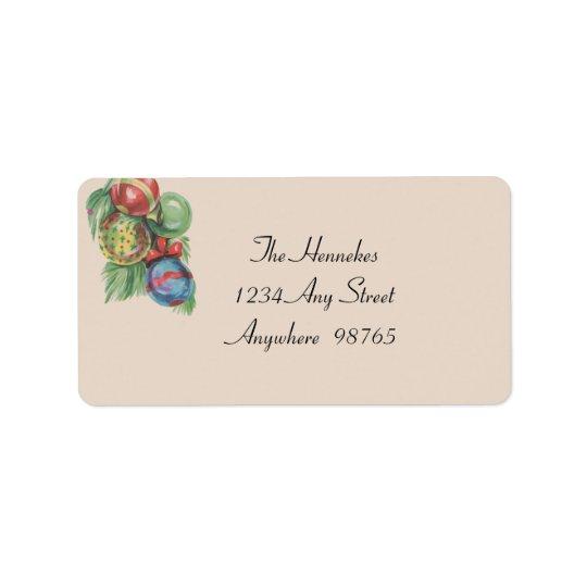 1940s Christmas Ornaments Address Label