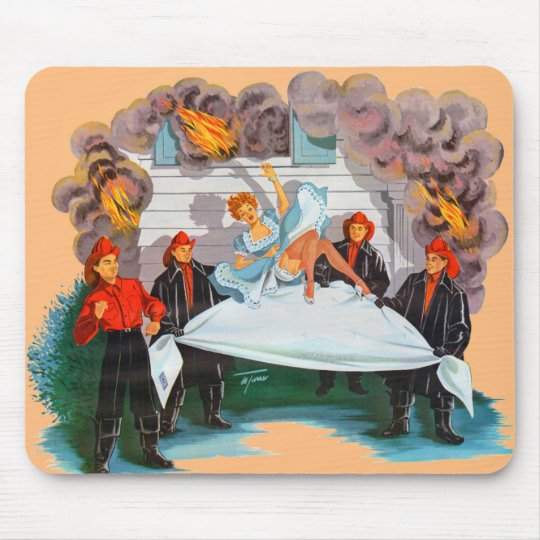 1940s firefighters rescue pretty lady mouse mat