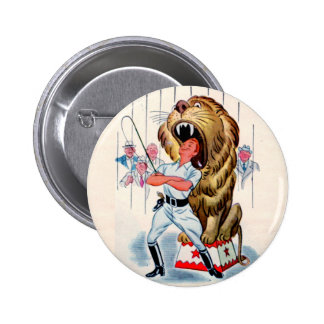 1940s lion tamer and lion 6 cm round badge
