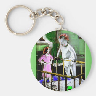 1940s mother and her giant baby basic round button key ring
