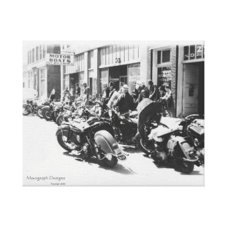 """1940's Motorcycle """"Street Rally"""" Wall Art Stretched Canvas Prints"""