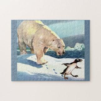 1940s polar bear and penguin jigsaw puzzle