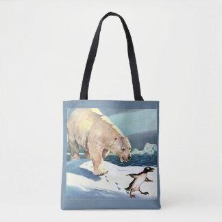 1940s polar bear and penguin tote bag