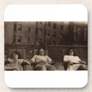 1940s three people relaxing on the roof beverage coasters