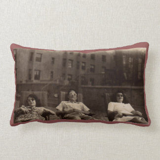1940s three people relaxing on the roof throw cushion