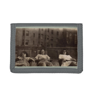1940s three people relaxing on the roof trifold wallets