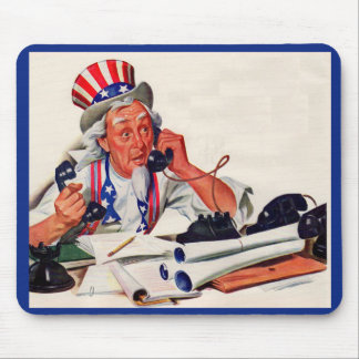 1940s Uncle Sam on the phone Mouse Mat