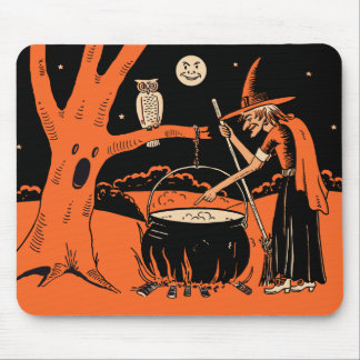 1940s Vintage Halloween Witch with Cauldron Mouse Mat