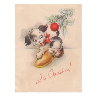 1940s Vintage Its Christmas Puppy Dogs Postcard