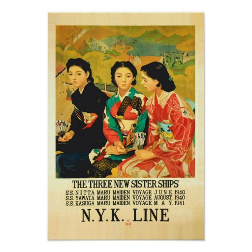 1940s Vintage Japanese Cruise Line Travel Poster