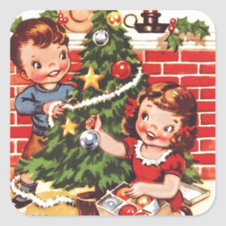1940s Vintage Merry Christmas Square Sticker