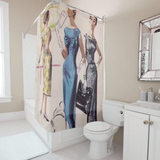 1940s Womens Fashion Print Shower Curtain