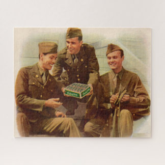 1940s WWII ad soldiers with candy from home Jigsaw Puzzle