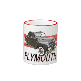 1941 Plymouth coupe with graphic and text. Ringer Mug