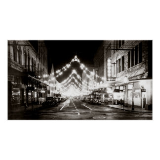 1942 Honolulu's Fort Street at Night Poster