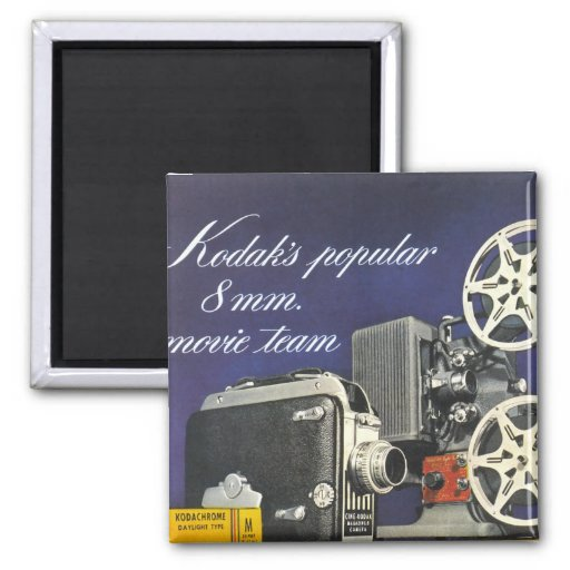 1942 Movie Camera and Projector Square Magnet