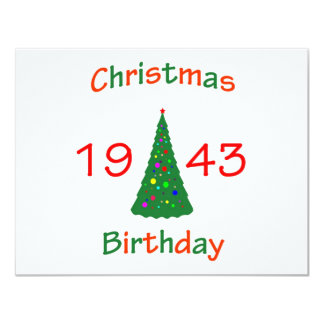1943 Christmas Birthday 4.25x5.5 Paper Invitation Card