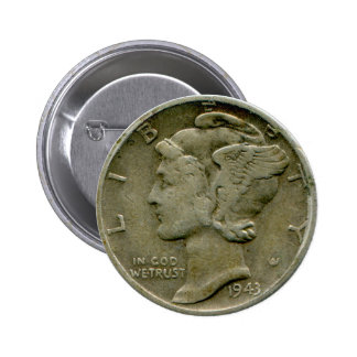1943 US Mercury dime obverse button