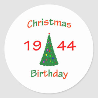 1944 Christmas Birthday Round Sticker