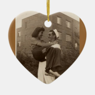 1944 Military Wedding Engagement Christmas Ornament