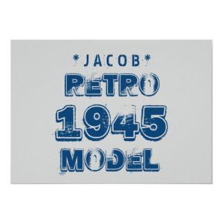 1945 70th Birthday RETRO MODEL Grunge Gray J70Z