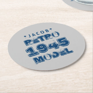 1945 70th Birthday RETRO MODEL Grunge Gray J70Z Round Paper Coaster